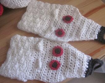 White crocheted gloves -white wolf gloves -hand made cotton wolf gloves