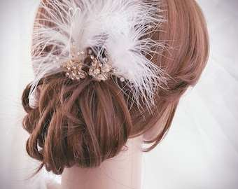 Bridal Comb, Rose Gold Wedding, Hair Comb, Small Hair Comb Crystal Leaf Comb, Feather Hair Pins Set of 2