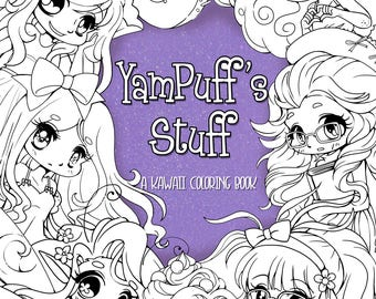 NEW YamPuff's Stuff - A Digital Kawaii Coloring eBook of Chibis and Cute Girls - Instant Digital Download - 48 Illustrations to Color