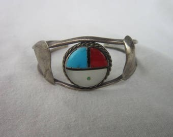 Vintage Native American Sterling Silver with inlaid stones Ladies Cuff Bracelet 5 different stones