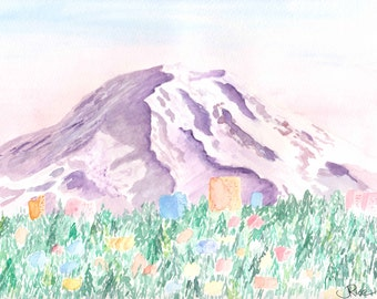 Mount Rainier watercolor print, The Mountain is Out, Olympic Mountains, Puget Sound, Seattle Art, Tacoma Art, Washington Art, Mountain Art