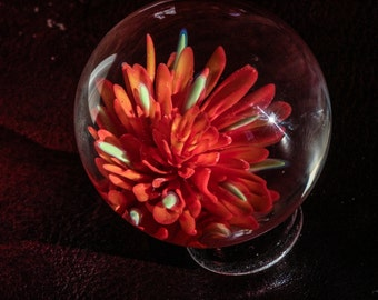 Blown Glass Marbles - Glass Art Flower Marble - Lampwork Flower Glass - Contemporary Glass Marble - Realistic Contemporary Art