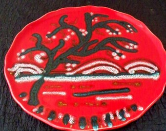 FRENCH POTTERY Longwy Stromboli Art Pottery Platter Made in France Scalloped Rim Flaming Red Mid Century Retro Decor