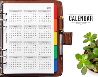 A5 Printable 2018 Planner Calendar with Important Dates Tracker – Filofax Year at a Glance Calendar Printable Insert for A5 Binder Planner
