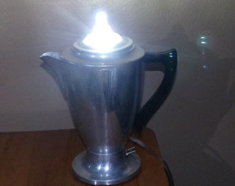 Unique Upcycled Vintage Coffee Pot 5W LED Lamp / Energy Efficient