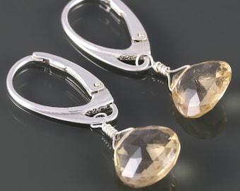 Champagne Quartz Earrings. Sterling Silver. Lever Back Ear Wires. s16e022
