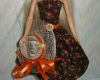 """Handmade 11.5"""" fashion doll clothes - fits Barbie - Regular, Tall, Curvy or Petite - brown and orange floral print dress with dress"""