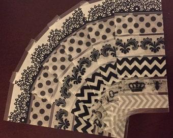 Black and White Pre-cut Washi Tape Sets - Erin Condren Life Planner, chevron, dot, fluer de lis