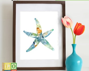 Watercolor Sea Star Print, Starfish, Watercolor silhouettes, Sea Life, Beach theme, Nursery Print, Ocean print, Under the Sea, Item  WC020AB