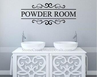 restroom wall decor. Powder Room Decal Bathroom Wall Decor Restroom Powderroom  Decals Art