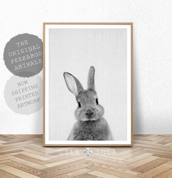 Rabbit Print, Baby Animal Prints, Woodland Nursery Decor, Bunny Wall Art Print, Large Poster, Large Wall Art, Print, Black and White