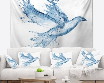 Designart Dove from Water Splashes Animal Wall Tapestry, Wall Art Fit for Wall Hanging, Dorm, Home Decor
