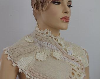Unique Ivory White Nuno Felted Crochet Boho Chic Scarf Capelet  Neckwarmer -Textured Scarf  - Freeform Crochet -Wearable Art - OOAK