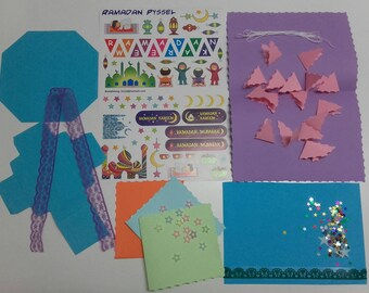 Ramadan card DIY kit for kids,ramadan Mubarak cards DIY,ramadan stickers,ramadan childrens activities,ramadan craft for kids,ramadan DIY