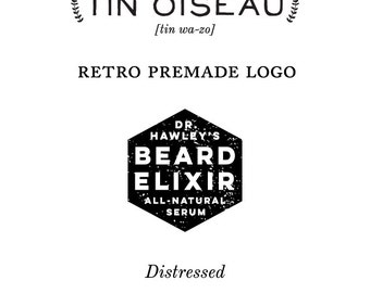 Premade Retro Vintage Inspired Business Logo Personalized with your information and color Branding Design for Men Guys Geometric Mid Century