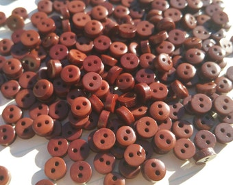 "Tiny Brown Buttons - Small Sewing Bulk Button - Little Dark Brown Buttons - 1/4"" Wide - 6mm - 100 Buttons"