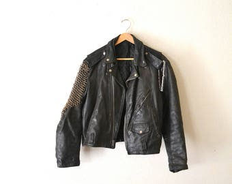 "1970's ""Mad Max"" Black Leather Motorcycle Jacket"