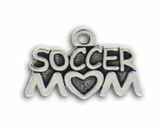 5 Silver Soccer Mom Charm Pendant 15x24mm by TIJC SP0465