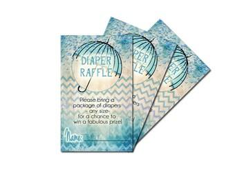 baby shower diaper raffle ticket, baby boy diaper raffle, blue chevron diaper raffle