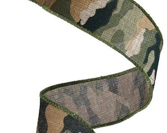 "1.5"" Camo Wired Ribbon RG1250, Camo Ribbon, Camouflage Wired Ribbon, Camouflage royal burlap ribbon (10 yards) - RG1250"