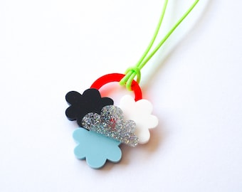 Sun and Cloud Necklaces, Laser Cut Acrylic Necklaces, Fun Necklace, Hand Assembled, Neon, Glitter, RockCakes Brighton,