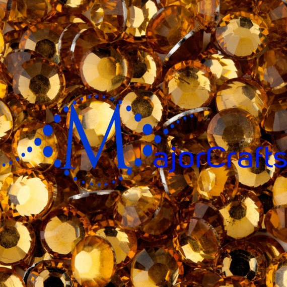 Orange Gold Flat Back Round Resin Rhinestones Embellishment Gems C23