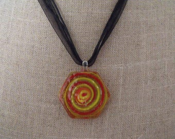 SALE red yellow and transparent glass pendant necklace