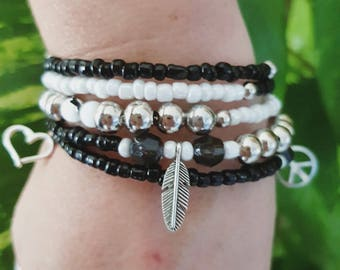 Black and white spirit bracelet/bracelet