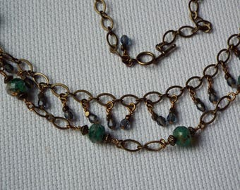 Two tiered aqua and smokey blue glass bead necklace
