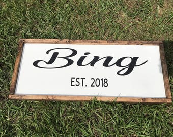Last Name Sign- Wedding Date Sign- Bridal Shower Gift- Gift for Brides- Wedding Gift- Established Family Signs- 5th Wood Anniversary Gift
