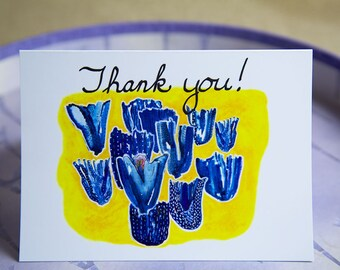 Thank You Card Thinking Of You Friendship Card, Blank Card Blue Tulips -GC400