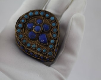 Antique Brass Turquoise Coral Lapis Trinket Snuff Herb Pill Jewelry Box Trinket