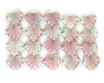 Mint Green opaque w/ Pink Raspberry glaze 13 x 11mm maple leaves. Set of 10, 20 or 40.