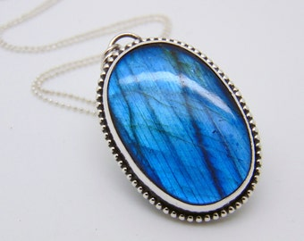 Blue stone pendant etsy blue labradorite pendant sterling silver necklace blue stone jewellery hallmarked silver labradorite aloadofball Image collections