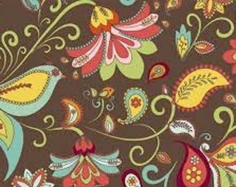 Riley Blake Bloom & Grow Brown Floral Cotton - 1 Yard