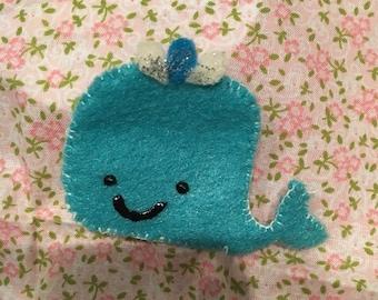 Whale hair clip - light blue (big)