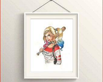 Print Harley Quinn, A4 size, white background-inspired by suicide Squad movie