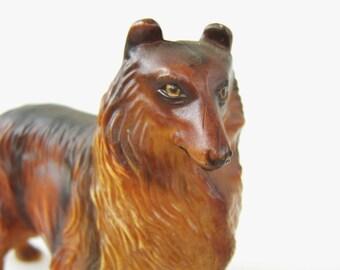 Vintage Celluloid Collie Dog Toy Dog Figurine Hong Kong