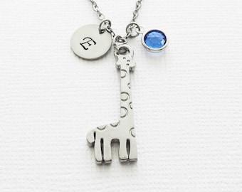 Giraffe Necklace, Zoo Animal, Gift For A Child, Birthday, Swarovski Birthstone, Silver Jewelry, Personalized Monogram, Hand Stamped Initial