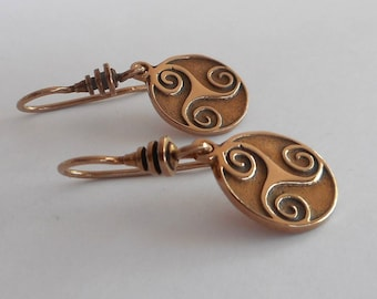 Bronze Celtic Triskele Earrings Triskelion Earrings Made in Montana Fine Jewelry Gift for Women 8th Anniversary Gift for Wife Small Triskele