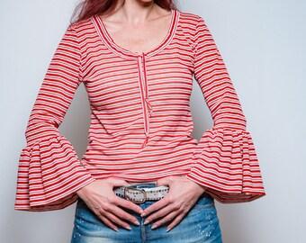 Streifen Sommer Top, Sommerbluse, Boho top, Moderne Blusenshirt, Blusen top, Rund hals Shirt, Yoga Shirt, Sommeroberteil, Sommer Shirt Rot