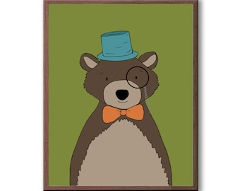 Hipster Woodland Animals, Bear, Deer, Fox, Rabbit, Raccoon, Squirrel, Woodland Nursery Art