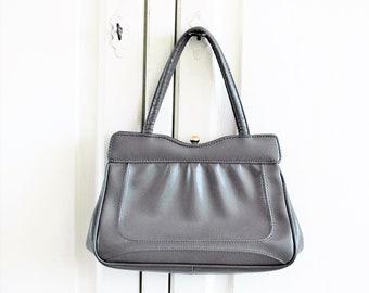 Ladies handbag 1960s grey vintage purse short double handle rockabilly fashion accessories, the netherlands vintage bags purses relovintage