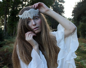 Cream beaded wedding hairband, rhinestone sash, beaded applique headpiece