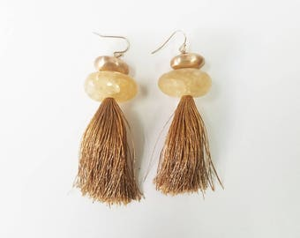 Beige Pebble Tassel Earrings