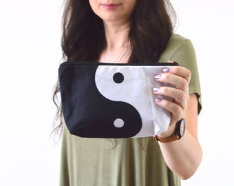 """Yin and Yang Print Zippered Cosmetic Bag, Make-up Bag, Toiletry Bag, Pouch - 8"""" x 5.5"""""""