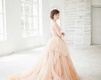 Nude tulle wedding skirt // Peony / Bridal separates, blush bridal skirt, tulle wedding dress, ball wedding gown, princess wedding dress