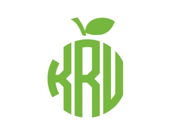 Apple Monogram Vinyl Decal Icon - 1 Color - Choose from 14 colors in various sizes and fonts