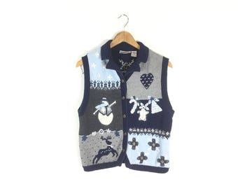 Ugly Christmas Sweater, S tacky Christmas sweater, vintage clothing, sweater vest, women's jumper