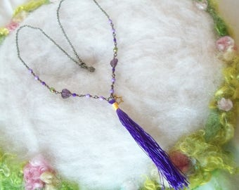 Purple Tassel Necklace Boho Glass Bead Jewelry Hippie Love Beads Flower Filigree Bead Caps Glass Beaded Bronze Chain